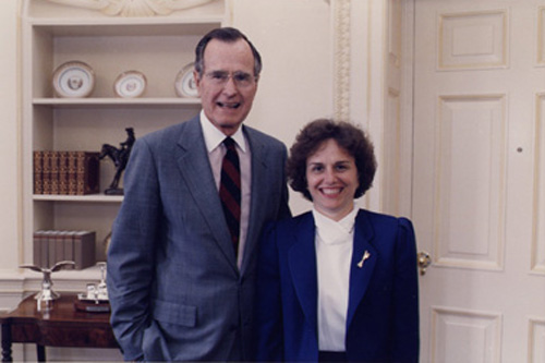 United States President George H.W. Bush invited Catherine to the Oval Office to wish her well as she embarked on her UN career (1992)