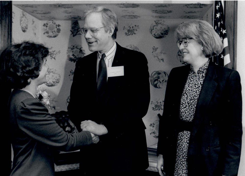 CB Receiving APWA's Highest Award for Exemplary Public Service Leadership from Sid Johnson and HHS Deputy Secretary Constance Horner (1991)