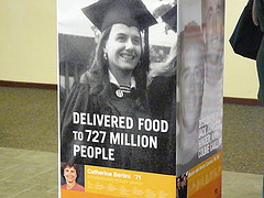 Catherine Bertini alumni poster at University of Albany  - Delivered Food to 727 Million People Banner