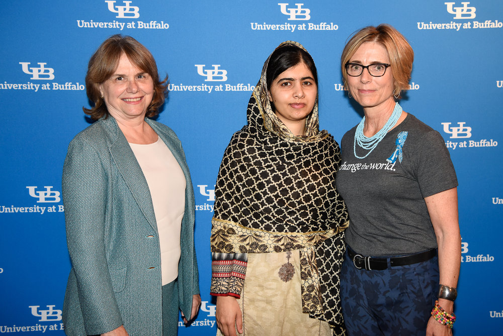 Catherine Bertini with Anne Wadsworth (The Whole Girl) and Malala Yousafzai (2017)