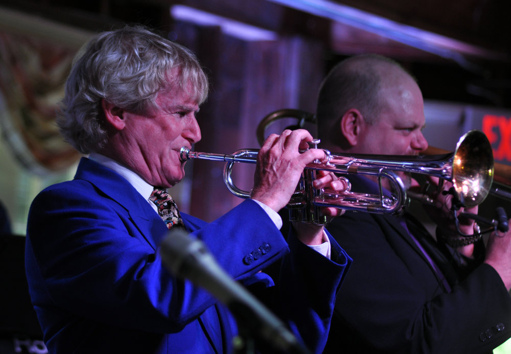 Charlie Bertini (trumpet) and brother-in-law John Allred (trombone) at Apple Jazz concert (2014)
