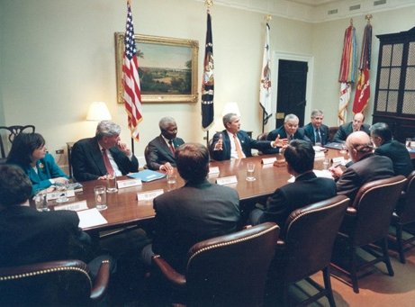 President George W. Bush and his team meeting with UN Secretary General Kofi Annan and his team in the White House to discuss Afghanistan (2001)