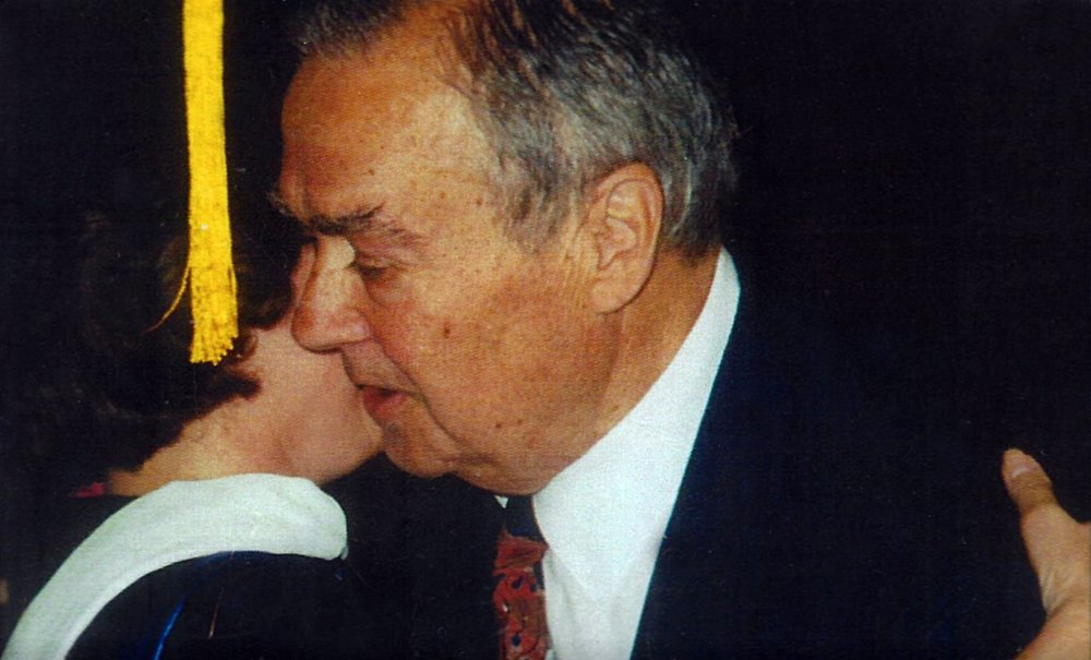 Catherine Bertini with her dad when she received an honorary degree from SUNY Cortland (1999)