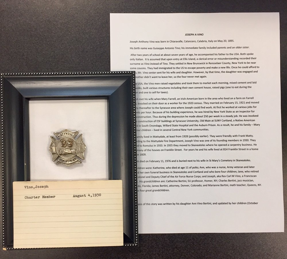 Donating Grandfather's Badge Back to Mattydale Fire Department – Joseph Vino was a Charter Member in 1930