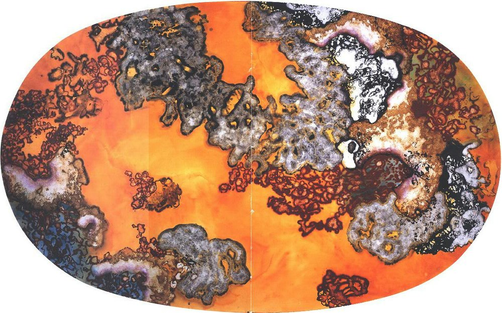 """Amber Glow World"" 1995, Amber Glow Series, acrylic on canvas, oval 10 x 17 feet, (305 x 518 cm)."