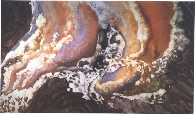 """""""Concave Veil"""" 1988, Concave Veil Series, acrylic on canvas, 6 x 10 feet (183 x 305 cm)."""