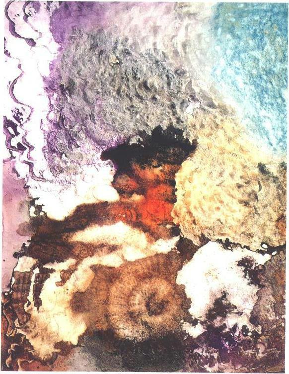 """Autumn Veil"" 1990, Concave Veil Series, acrylic on paper, 42 x 30 inches (106 x 81 cm)."
