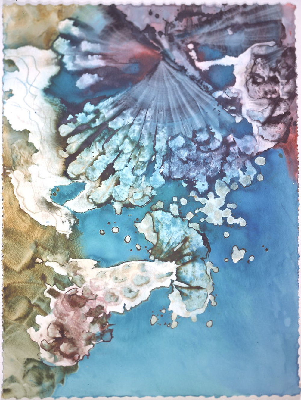 """""""Blue Crystal"""" 1998, Crystal Reef Series, acrylic on paper, 42 x 32 inches (107 x 81 cm)."""