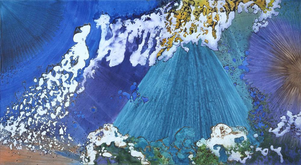 """Crystal Pyramid"" 2003, Crystal Reef Series, acrylic on canvas, 10 x 18 feet (305 x 549 cm)."