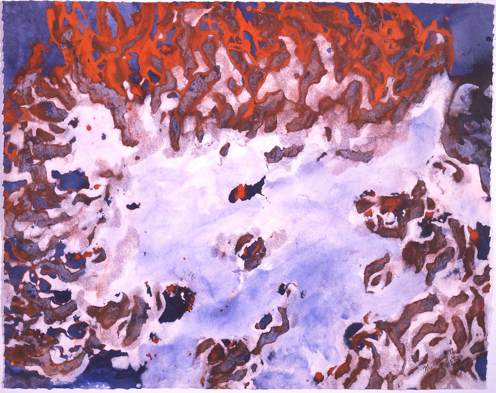 """Spring Lava"" 1992, Geyser and Spring Series, acrylic on paper, 24 x 30 in (61 x 76 cm)."