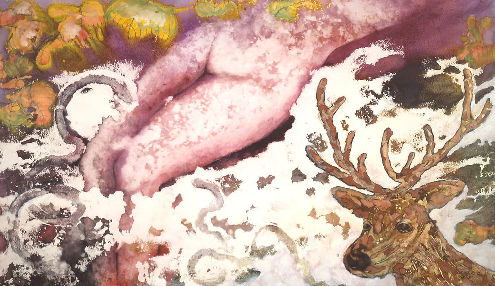 """Midsummer Night's Dream"" 1985, Dream Series, acrylic on paper, 42 x 72 inches (107 x 183 cm)."