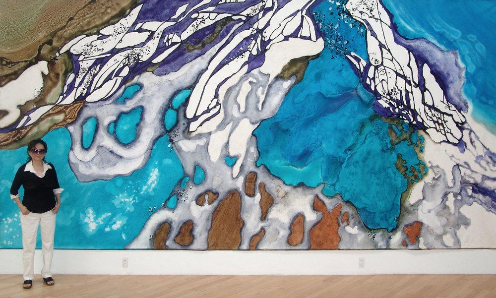 "Marlene Tseng Yu. ""Disappearing Glacier"" 2007, Glacier Melting Series, acrylic on canvas, 10' by 20' (305 x 610 cm)."