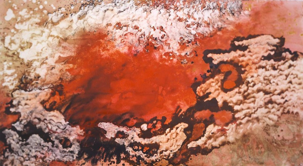 """Sea of Fire"" 1997, Molten Lava Series, acrylic on paper, 38 x 68 in (97 x 173 cm)."