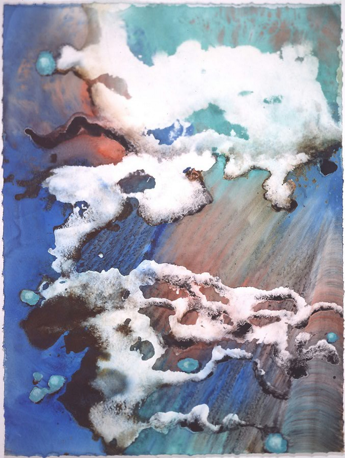 """Turquoise Floating in Cloud"" 1999, Turquoise Floating Series, acrylic on paper, 42 x 32 in (107 x 81 cm)."