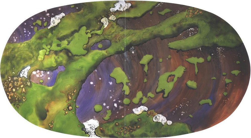 """""""Forest Moss I"""" 1998, Forest Moss Series, acrylic on canvas, Oval 10 x 18 feet (305 x 549 cm)."""