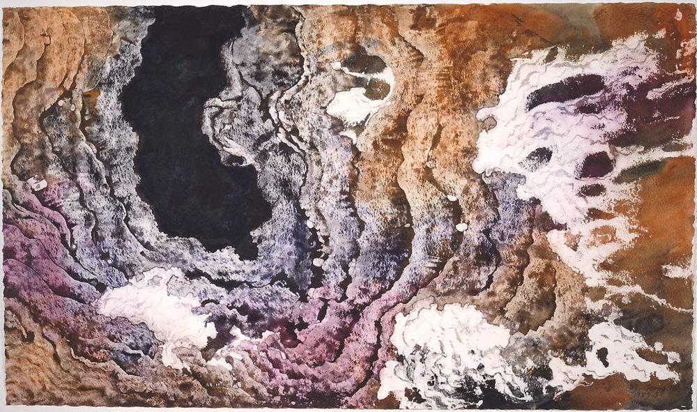 """Black Hole"" 1987, Black Hole Series, acrylic on paper, 42 x 72 in (107 x 183 cm)."