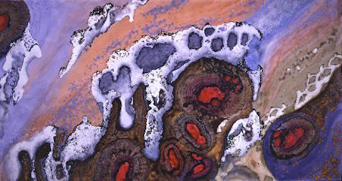 """""""Unearthed Ruby"""" 2003, Cave Treasure Series, acrylic on canvas, 10 x 18 feet (305 x 549 cm)."""