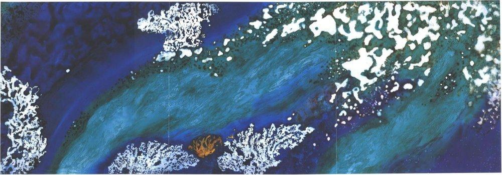 """Undercurrent"" 1998, Deep Sea Garden Series, acrylic on canvas, 12 x 36 feet (366 x 1097 cm)."