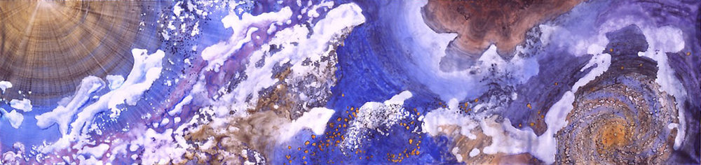 """""""Air - Element of Life"""" 2004, Galaxy and Milky Way Series, acrylic on canvast, 8 x 33 feet (244 x 1006 cm)."""