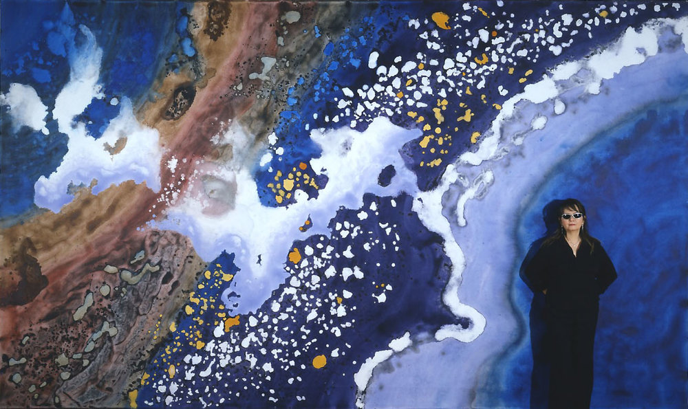 """""""Fly Over Milky Way II"""" 2003, Galaxy and Milky Way Series, acrylic on canvas, 10 x 18 fet (305 x 549 cm) with Artist."""