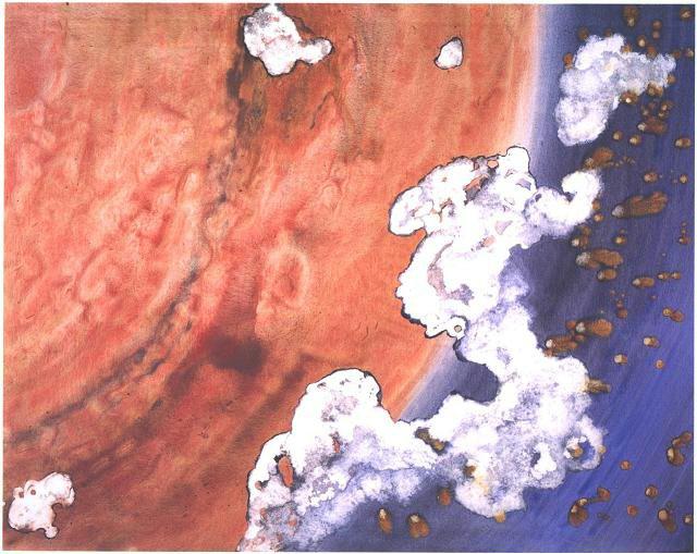 """Mars' Love"" 1996, Galaxy and Milky Way Series, acrylic on canvas, 48 x 60 in (122 x 152 cm)."