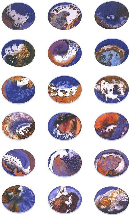"""Space Park"", Mushroom Cloud Series, acrylic on canvas, 20 ovals, 16 x 20 inches (41 x 51 cm)."