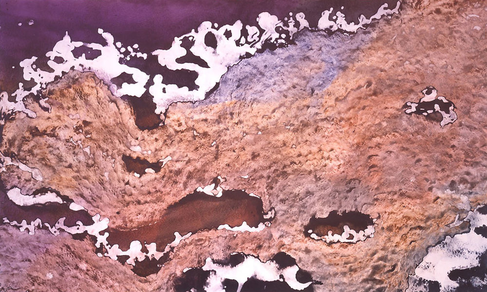 """""""Moonscape"""" 1987, Planets of the Universe Series, acrylic on paper, 36 x 60 in (91 x 152 cm)."""