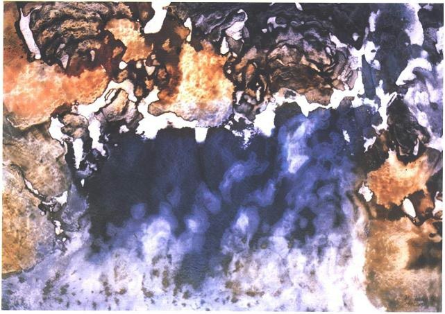 """""""Reflection"""" 1966, Reflection Series, acrylic on paper, 30 x 42 inches (76 x 107 cm)."""