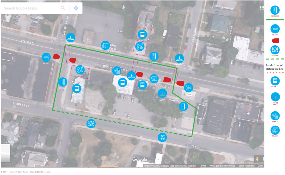 Proposed pop-up improvements for the Tyler Street Better Block.