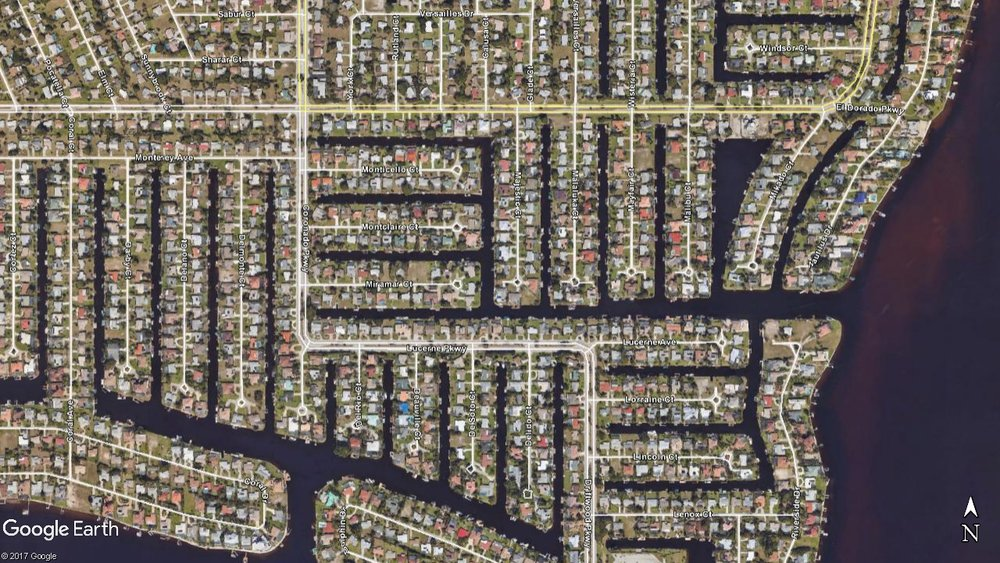 Can you spot the Local, Collector, and Arterial streets in Cape Coral, Florida?