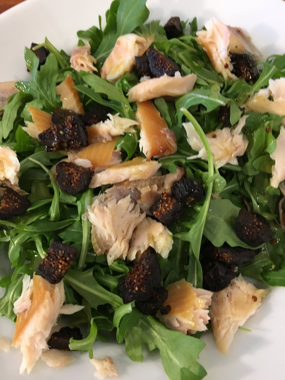 Smoked Trout and Figs with Arugula Bowl