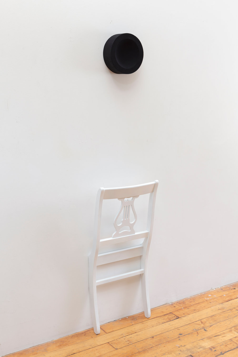 hymn,   2014  wood, paint and black flocking  62 x 16 x 7 inches