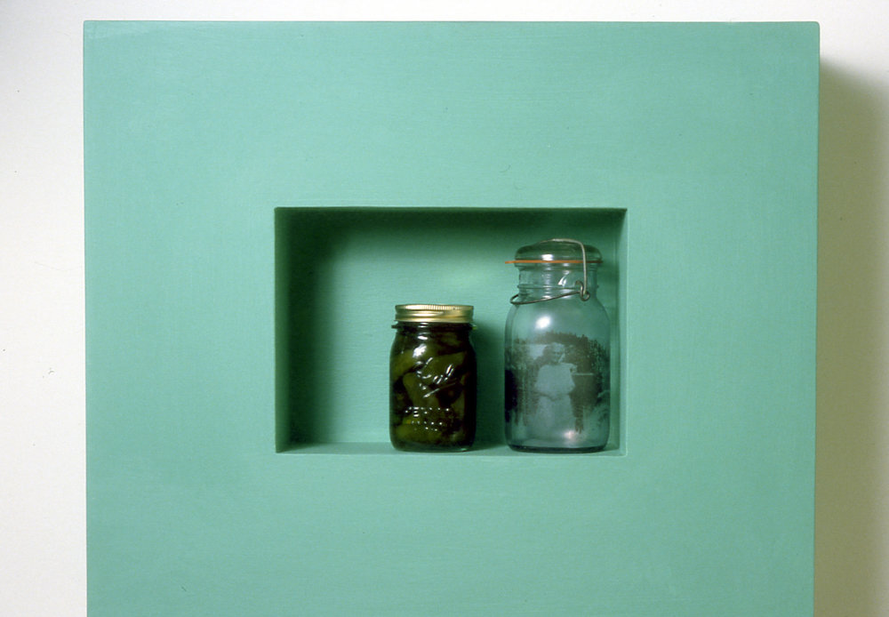 27 Lookin Glass 5, 1999, glass, woos, sweet pickles, photo transfer, metal, acrylic.jpg