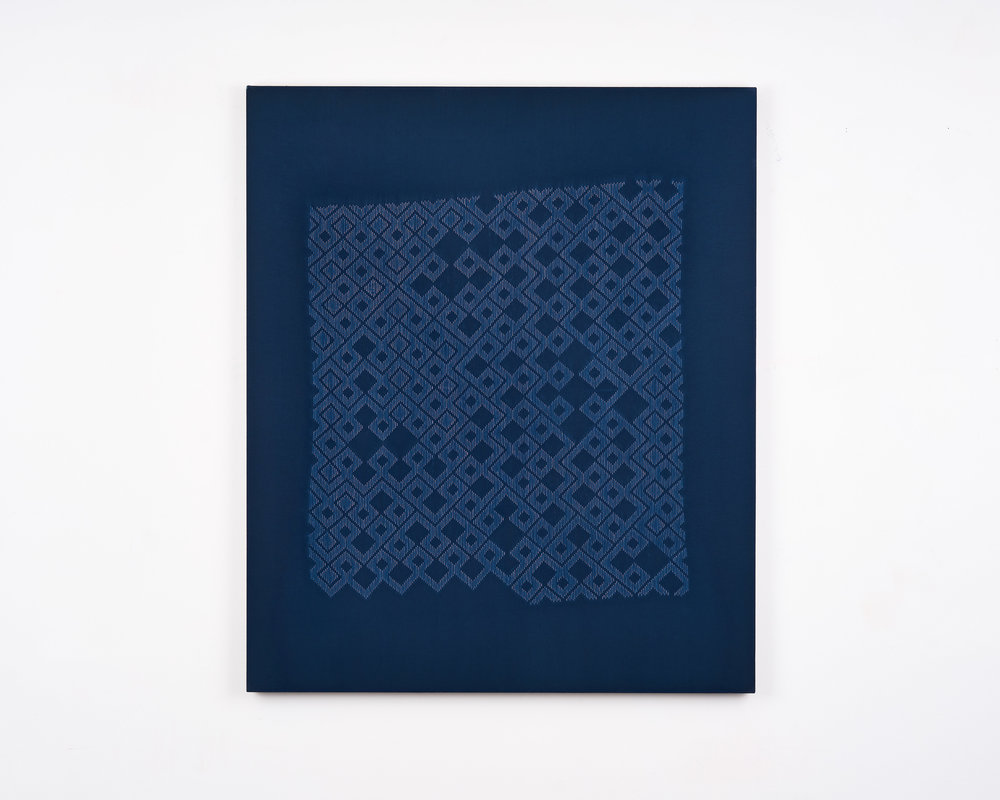 Untitled (01.03-01.31), stitch resist cyanotype, 2019