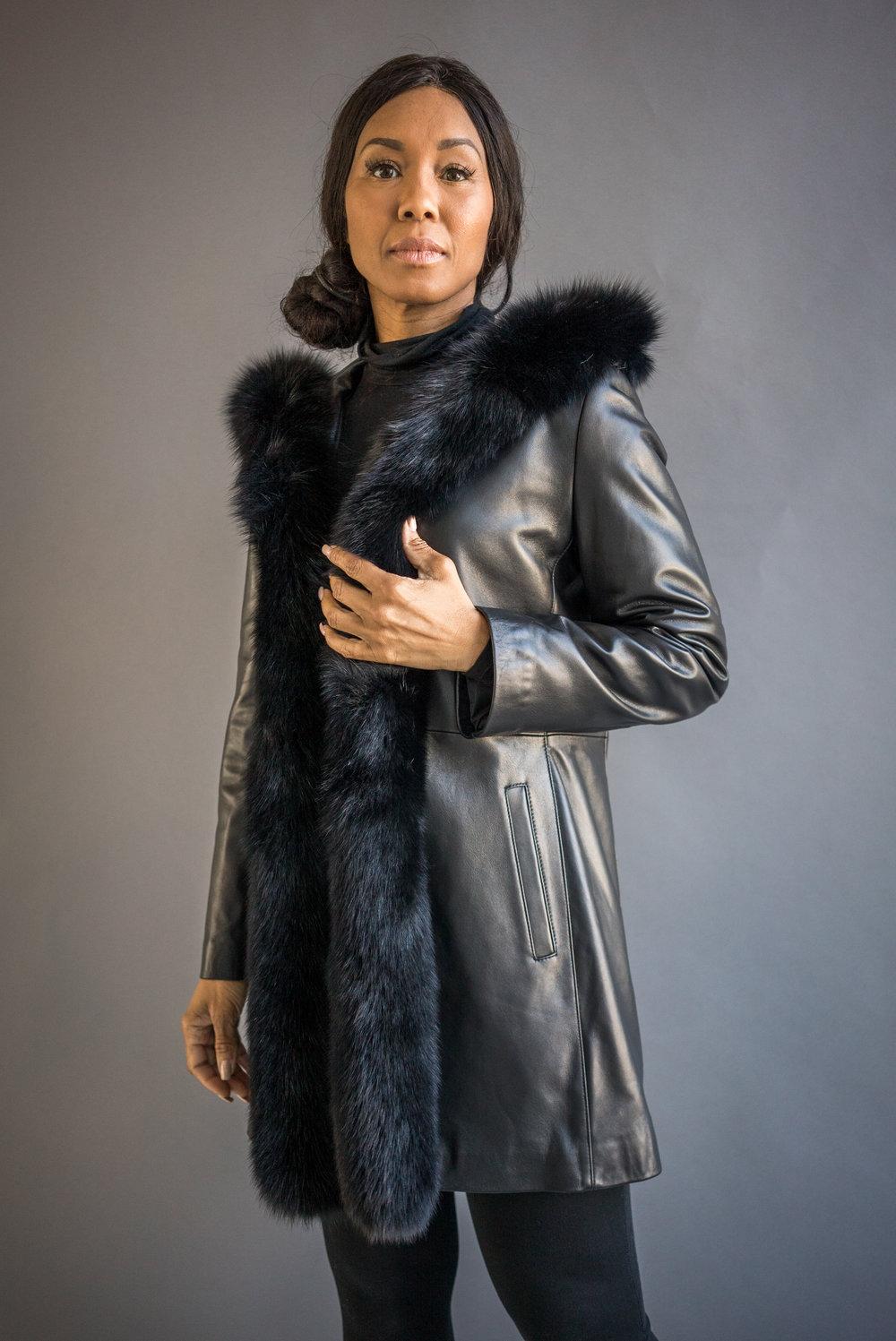 16c0e1d1481 style 2848: black lamb nappa leather hooded 3/4 coat with black dyed fox  tuxedo