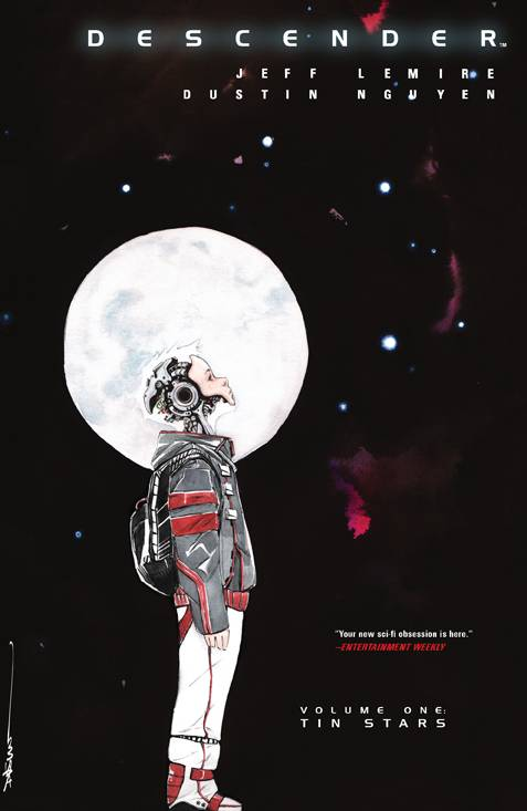 Descender Vol 1 - Trish's PickIn a distant universe, robots have been outlawed by all other species after planet-sized robots called Harvesters appear from seemingly out of nowhere and rampage through the galaxy. Although feared by most, a companion bot with the appearance and mentality of a 10-year-old boy named TIM-21 may hold the secret of the Harvesters. A race to be the first to unlock information he contains commences. Brought to life by fan-favorite Jeff Lemire's words and Dustin Nguyen's gorgeous water-colored interiors, this vast sci-fi adventure will keep you pinned to each page.