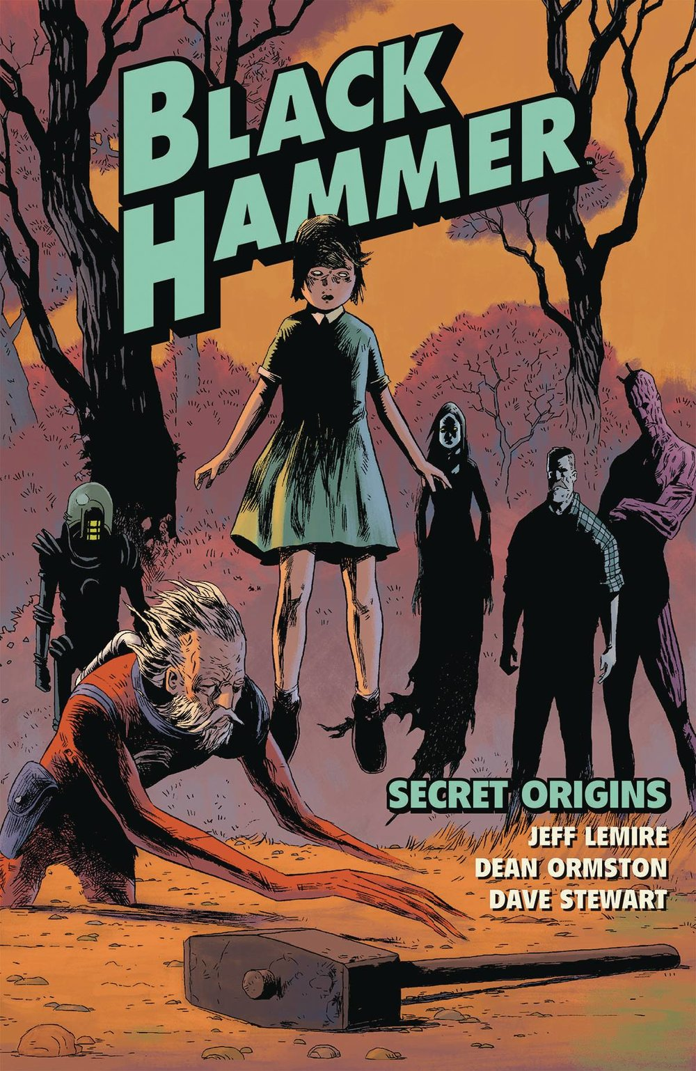 "Black Hammer Vol 1 - Mike's PickThe heroes of Spiral City, after defeating a powerful foe, were exiled by forces unknown for reasons unknown to a small farm town.  As they are unable to leave, they struggle to adjust to their new lives since there seems to be no hope of rescue.  Of course, there's more going on than meets the eye!  With Black Hammer, Jeff Lemire (Descender, Old Man Logan) and Dean Ormston (Lucifer) have created a deconstructionist superhero saga that is both fun and mysterious.  While playing with tropes and subverting reader expectations, they weave an emotionally resonant and gripping sci-fi yarn that focuses heavily on character development and world building.  The mystery of what happened to the heroes is unraveling ever so slowly but the pacing is still tight.  Lemire's character work reminds you of heroes you're familiar with, while Ormston's quirky art breathes new life into the archetypes.  The first volume, titled ""Secret Origins"" and collecting issues one through six, is available now and volume two is coming soon.  For my money, Dark Horse's Black Hammer is the best superhero book on the stands."