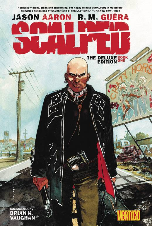 "Scalped HC Book 1 Deluxe Edition - Mike's PickBlending Noir with the Western, Scalped is the story of various fascinating characters that inhabit the Prairie Rose Reservation.  Issues of race, poverty, and addiction are explored in a thrilling crime/action milieu by series creators Jason Aaron (Southern Bastards) and RM Guera (The Goddamned).  The flawed Dash Bad Horse is our window into this world as he infiltrates Chief Lincoln Red Crow's criminal organization.  Those looking for straight up ""good guys"" and ""bad guys"" need not apply, though, as morality gets as murky as a dirty (and bloody) creek bed.  The writing is as good as it gets in comics and Guera's art evokes the best Spaghetti Westerns.  Violent and complex, Scalped is one of my all-time favorite series."