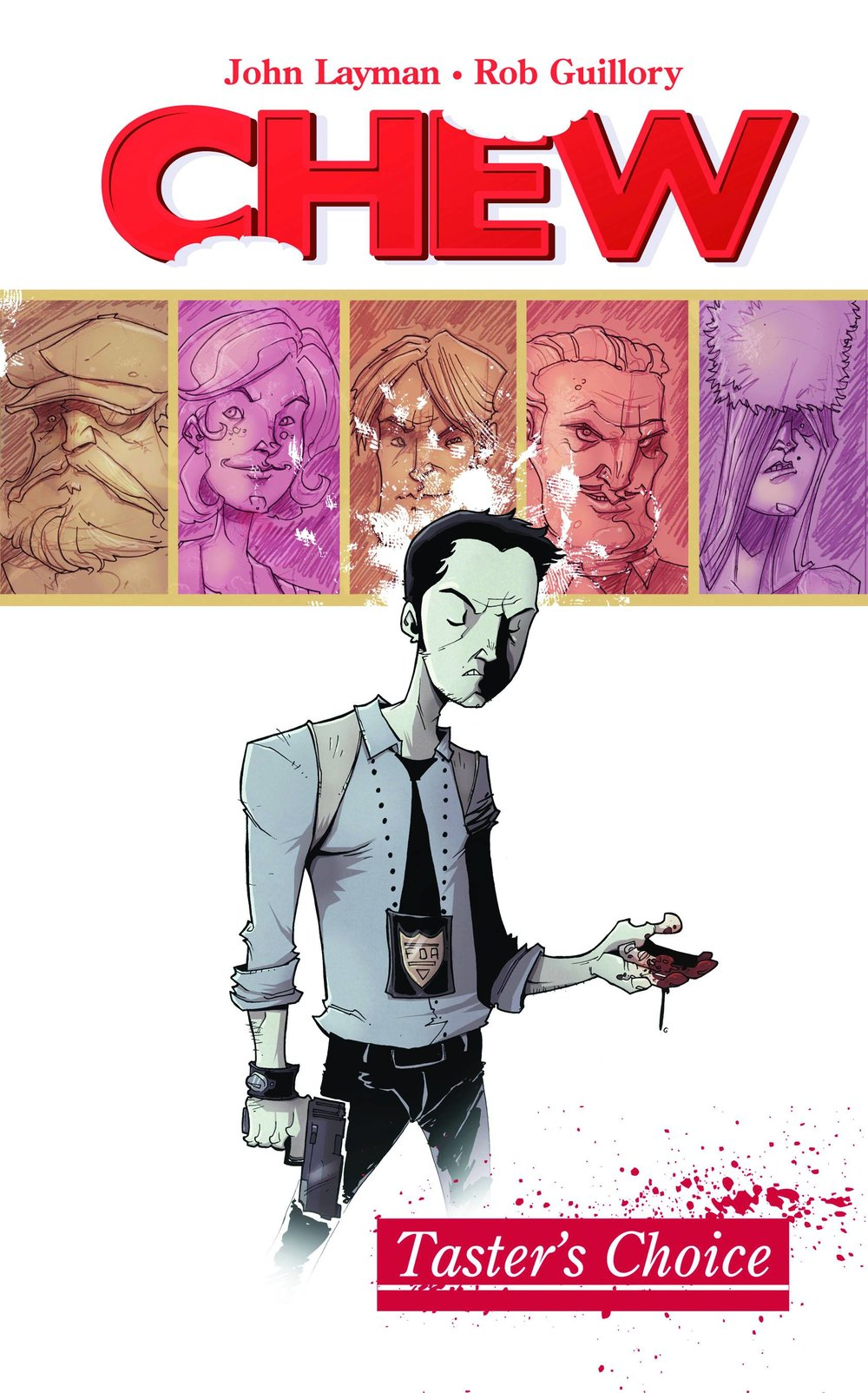 Chew TP Vol 1 - Juan's PickChew, from John Layman (Detective Comics) and Rob Guillory (WWE Comics) is about a detective with a secret. A weird secret. Tony Chu is a Cibopath, which means he gets psychic impressions from anything he eats. He is an amazing detective, as long as he is willing to take a bite of a corpse to learn who killed said corpse and why. He works for the Special Crimes Division of the FDA, the most powerful law enforcement agency in the world. If you consider yourself a foodie who likes comics with vampires, cyborgs, enhanced animals, outer space shenanigans, and killer warrior chickens, then check out Chew!