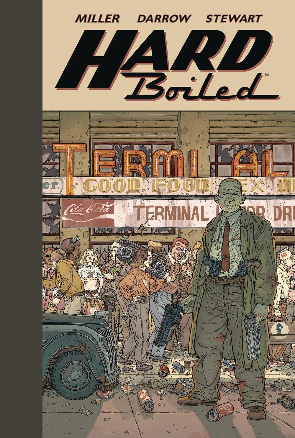 Hard Boiled - Mike's PickViolent, outrageous, and relentlessly paced, Hard Boiled deserves a place on any comic fan's shelf.  Industry legend Frank Miller (Batman: Year One) crafts a darkly humorous tale of a nightmarish future involving psychotic robots and a morally bankrupt civilization.  For me, though, the art by Geoff Darrow (Shaolin Cowboy) is what makes this book a must read.  Darrow's art is insanely intricate and detailed.  On numerous splash pages, it seems like there are whole stories going on in the background amongst the many crowd scenes.  One could easily spend a few hours just pouring over the gorgeous (and explicit) artwork.  Reminiscent of both THE TERMINATOR and BLADE RUNNER, Hard Boiled is available now in a newly released hard cover.