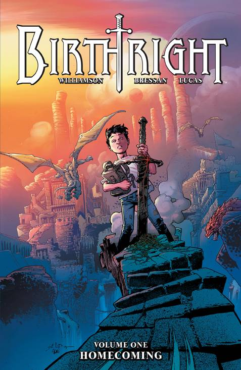 Birthright TP Vol 1 - Mike's PickTired of clichés in your fantasy stories?  Then you should check out Birthright!  Joshua Williamson (Nailbiter) and Andrei Bressan (Batman and Robin) have created a rollicking adventure tale that plays with audience expectations and subverts tropes.  As a young boy, Mikey is kidnapped and taken to a fantasy world where he is destined to defeat an evil wizard king.  After a year passes, Mikey returns, except he's been in the fantasy world for twenty years and now resembles Conan the barbarian.  His family, as a result of his kidnapping, has been torn apart.  Can his family regain what they've lost?  Why has Mikey returned?  What did Mikey go through in his twenty years spent in the fantasy world?  Throughout the twists and turns (which I'm definitely NOT revealing here), the story remains engaging and the art never fails to stun.  I often find myself lingering on the many beautiful splash pages, but I digress.  Birthright is both fresh and fun, pick up volume one today!