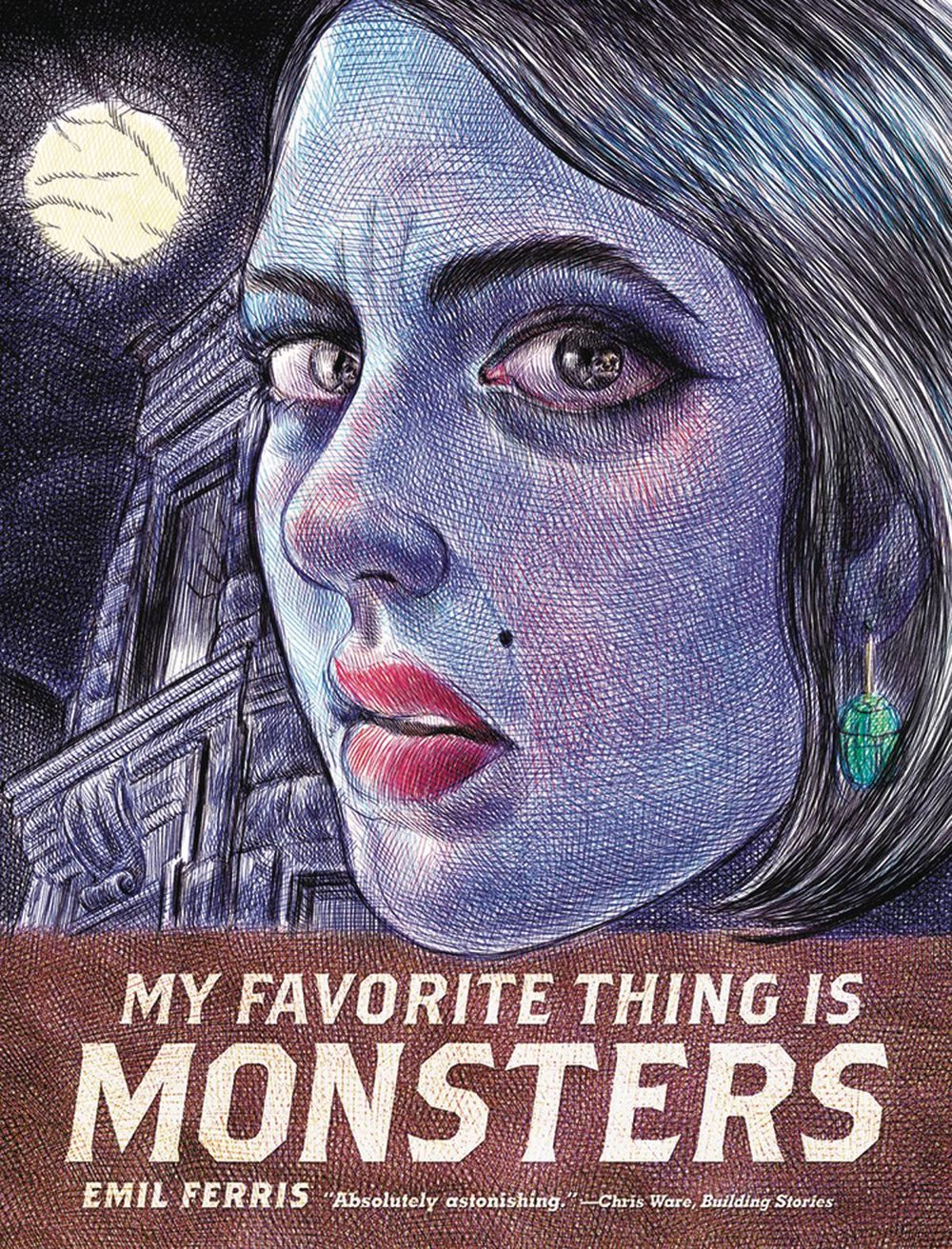 My Favorite Thing is Monsters Vol 1 - Mike's PickEmil Ferris' debut graphic novel is an absolute masterpiece.  Eschewing traditional comic book story mechanics, the tale unfolds in the form of a young girl's sketchbook/journal.  10-year-old Karen Reyes loves monsters and even imagines herself as a werewolf within the pages of her journal.  She draws versions of monster magazine covers that function as chapter breaks for the reader.  She's also investigating the murder of her neighbor, a Holocaust survivor, while dealing with family issues and day to day life in Civil Rights era Chicago.  The theme of fictional monsters contrasted against real life monsters is cleverly explored in Karen's journal entries.  Additionally, the artwork looks to be entirely done in intricate pen and ink.  MY FAVORITE THING IS MONSTERS announces a fantastic new talent to the medium.  It's easily one of the best books I've read within the last five years.  Book one is available now with the concluding volume currently scheduled for an April release.