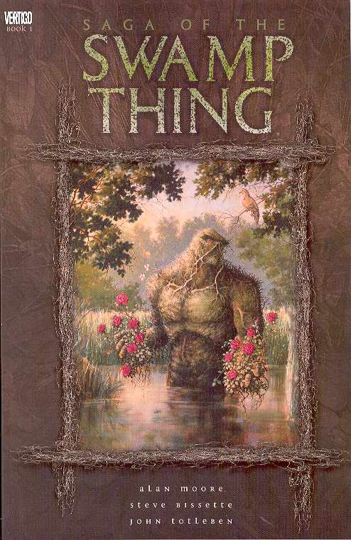 Saga of the Swamp Thing TP Vol 1 - Mike's PickAlan Moore (Watchmen) and a cadre of talented artists including most notably Stephen Bisette (Sgt. Rock) took Len Wein and Bernie Wrightson's classic muck monster to new heights in a run that made Moore an icon.  At turns unsettling, horrifying, psychedelic, thoughtful, and fantastical, Saga of the Swamp Thing went from a cult series to a blockbuster.  Moore's exploding and expansion of the character's mythology from a more sophisticated viewpoint was directly responsible for the creation of the Vertigo publishing line.  Featuring guest appearances from Batman, Etrigan the Demon, and Adam Strange, Moore and company never neglected to add some fun while they were busy breaking ground on the types of stories that could be told in a mainstream comic.