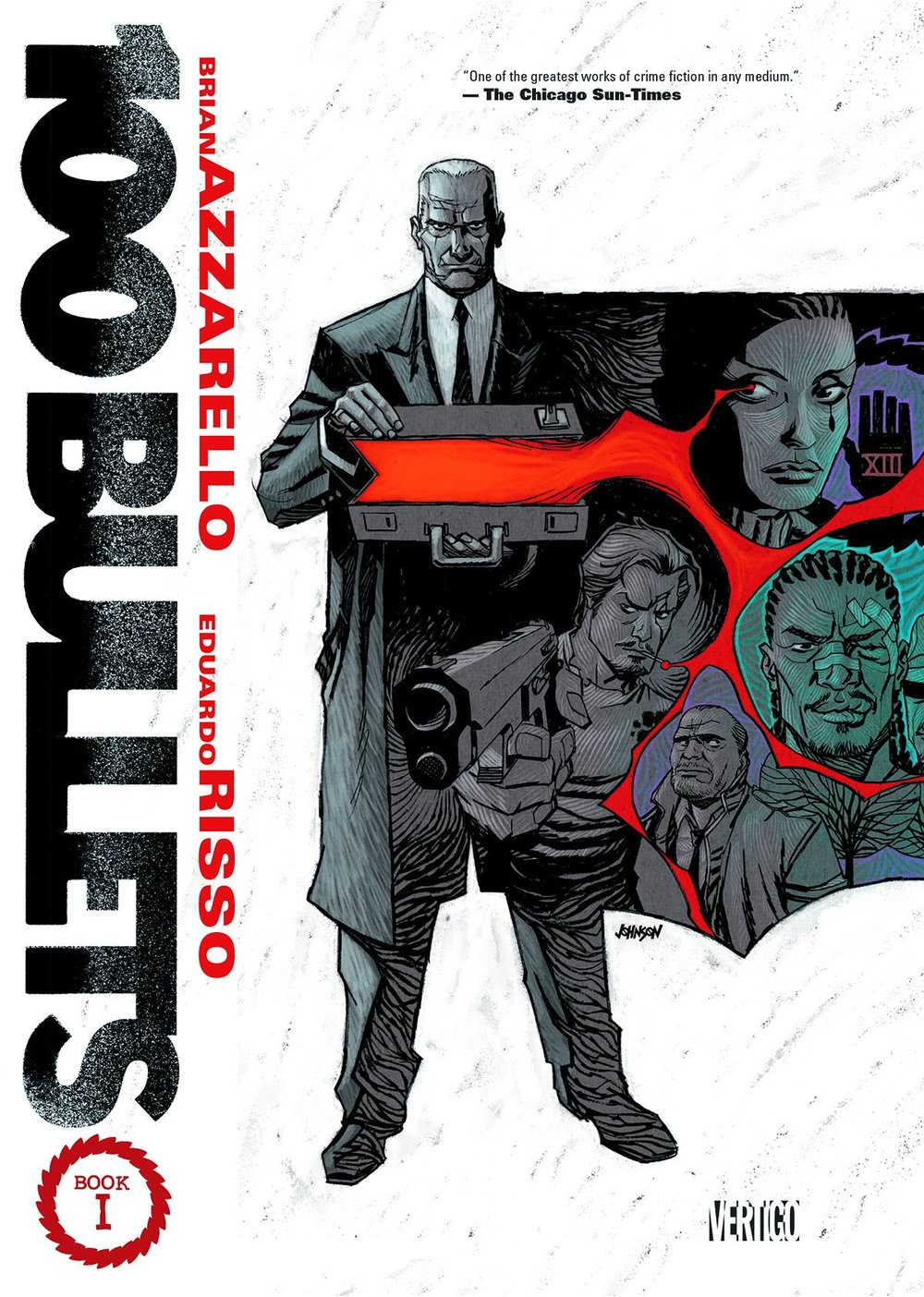 100 Bullets TP Book 1 - Lauren's Pick (Part 2)A creepy old man hands you a briefcase. Inside is a gun, one hundred bullets of untraceable ammunition, and a photo of the person responsible for ruining your life. 100 Bullets is a story built on this simple moral quandary, following the mysterious Agent Graves as he travels the country dispensing the option of revenge—or justice?—to individuals who at first seem randomly selected. As the tale unravels over the course of its hundred-issue run, questions answered lead to new, bigger mysteries. Lives interconnect and are cut short, clues are hidden, and a conspiracy dating back hundreds of years is revealed. Brian Azzarello (Moonshine, Dark Knight III: Master Race) and Eduardo Risso work together masterfully to execute this sprawling work, a stellar example of modern noir fiction for fans of Sin City and Scalped.