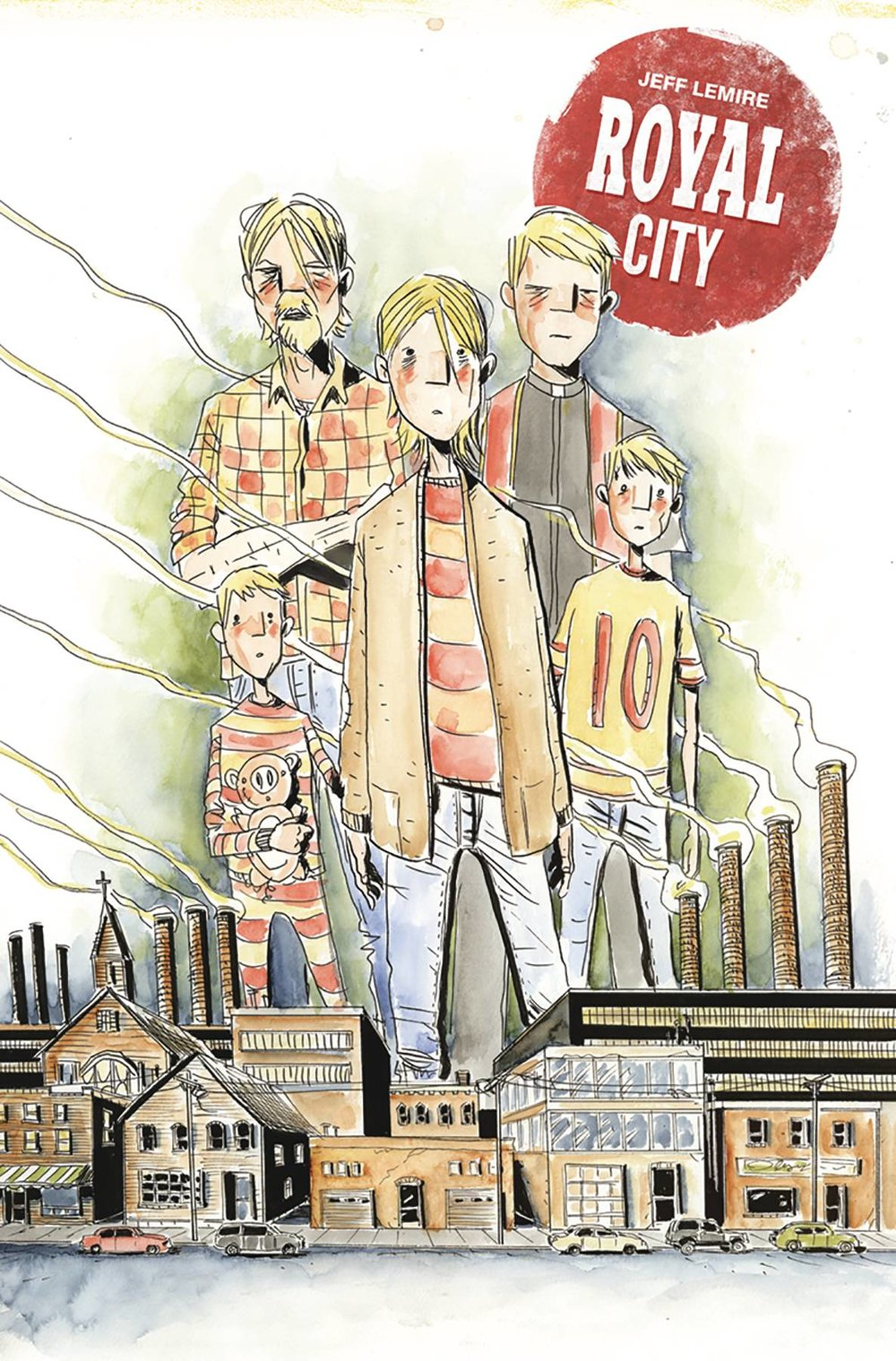 Royal City TP Vol 1 - Mike's PickWriter/Artist: Jeff LemireMan. Royal City is so good and it feels like nobody is talking about it. After I finish each issue, I'm struck by how solid and engaging a read it is.  Jeff Lemire writes some of my current favorite series, specifically Black Hammer for Dark Horse and Descender for Image, but those are both (excellent) genre series. Royal City is much more grounded, although there are hints of surrealism that flavor the story of a small town family haunted (maybe literally, maybe not) by their long dead sibling/son. Lemire pulls double duty here, and his sketchy, impressionistic art is perfectly suited for this melancholy, possibly supernatural tale.  Volume one (available now) follows the family in the present as they reunite in the crumbling titular town where they grew up and experienced loves and losses. Volume two (due out in late April) follows the last days of the deceased son in the 1990s. I, too, grew up in a small town that's now seen better days and I was also a teenager/young adult in the '90s so this book really appeals to me. Nothing else I've ever read has come close to palpably conveying those experiences. The prolific Lemire is at the top of his game here, breathing life into characters and a town in a painfully, and beautifully, real way.