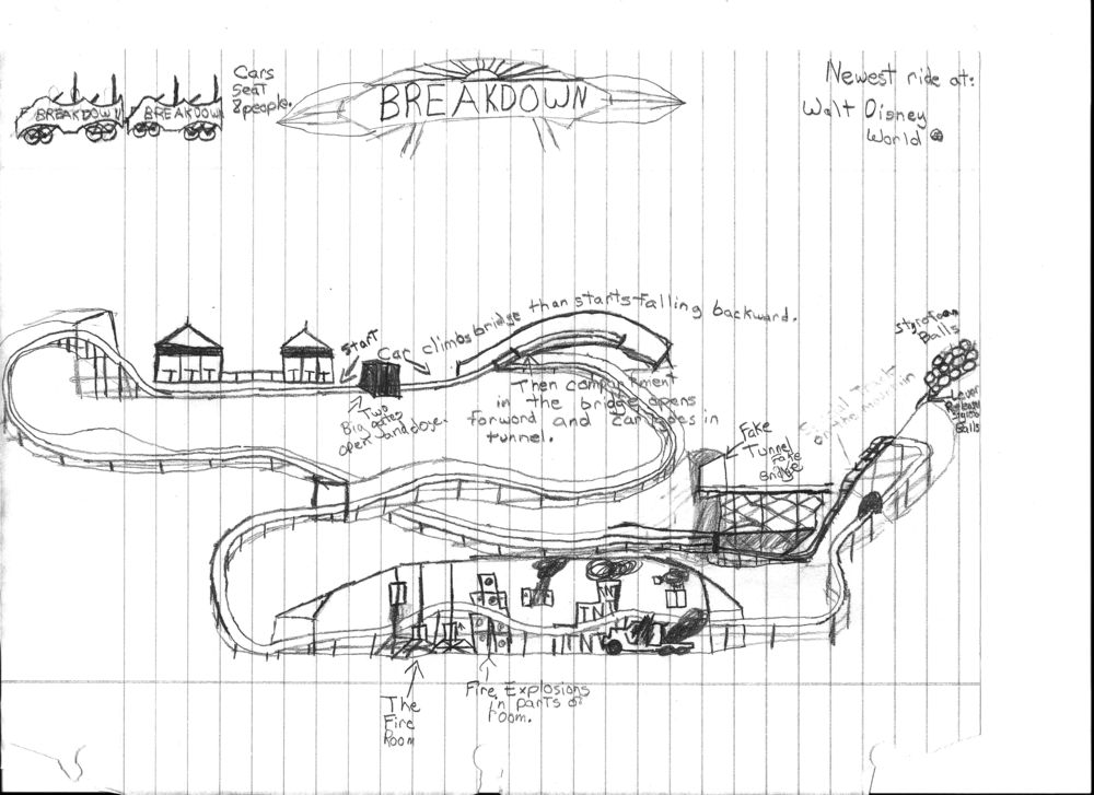 CLICK TO ENLARGE - Breakdown – An original design from Cole's 6th Grade Imagineering Folder.