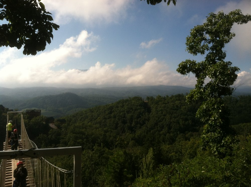 CLICK TO ENLARGE - The view from the zip line tour of the Smoky Mountains.