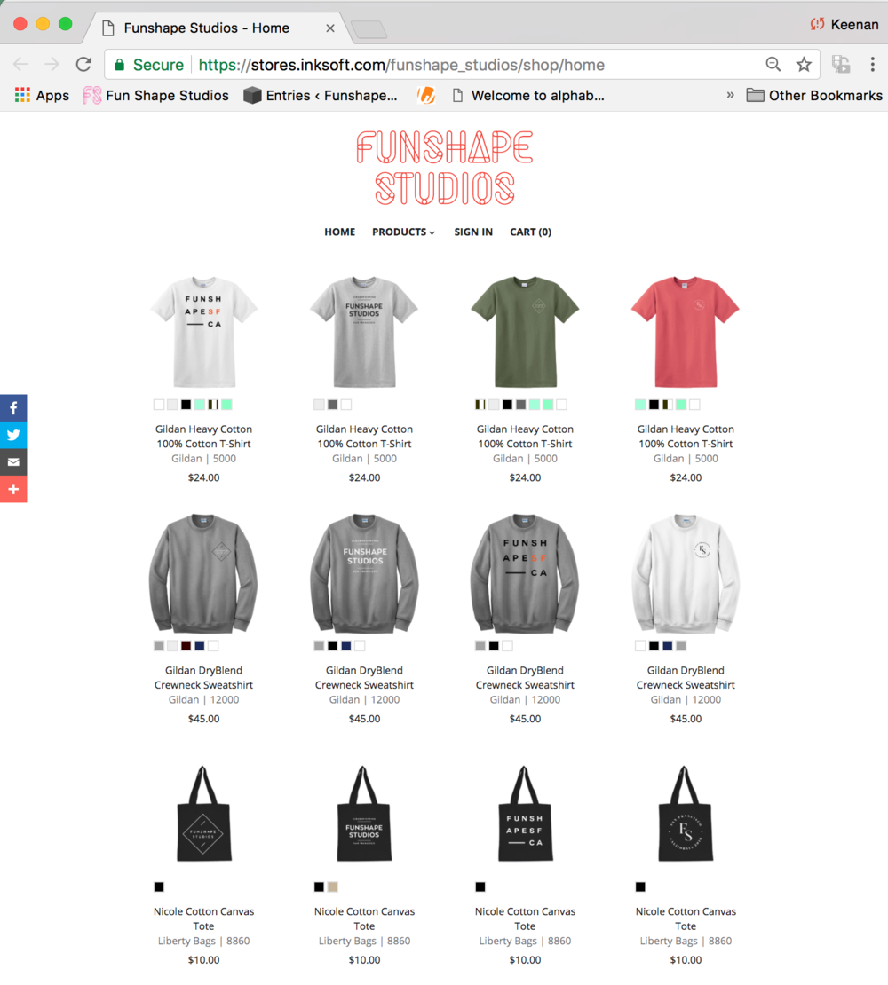 the webstore - We create your branded webstore for you, establish parameters for printing, production, payments and shipping. We handle all of it.  Whether you want it shipped to individuals or shipped to you to distribute, you can decide it all. Your new webstore will handle all the orders, payments, shipping info so you can relax.