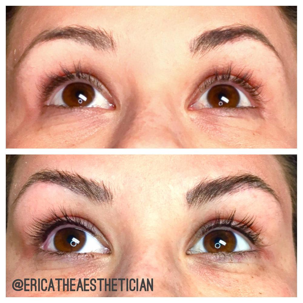 Top: Before Bottom: After permanent lash enhancement