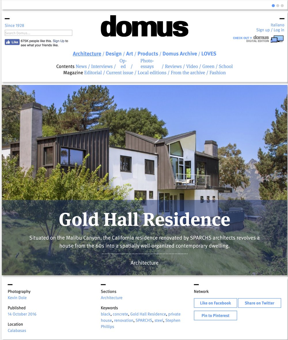 Domus features Gold Hall Residence